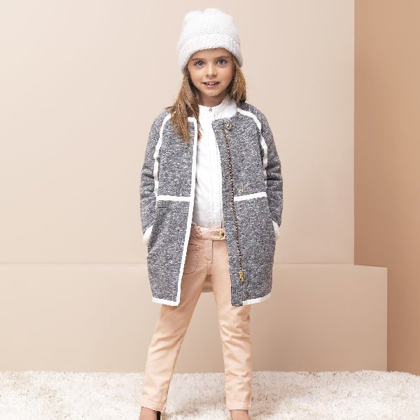 CHLOÉ Girls Grey Coat with Lining & Pink Braided Twill Pants