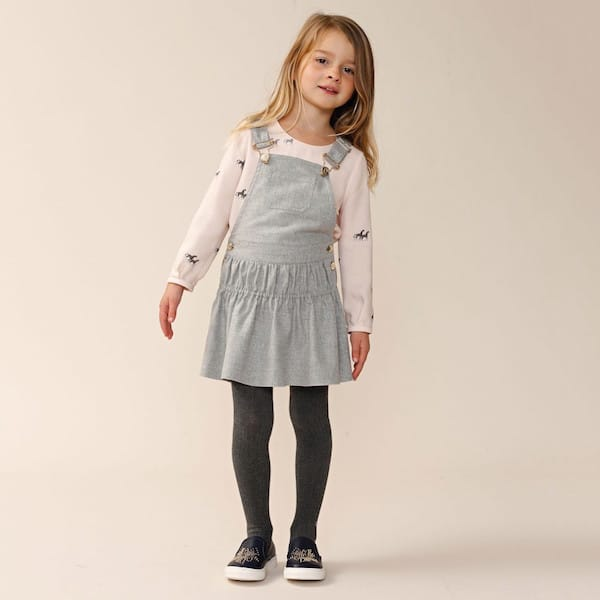 CHLOÉ Girls Pink Viscose Horse Print Blouse & Grey Cotton Flannel Pinafore Dress