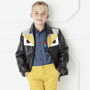 FENDI Boys Black Leather Yellow Monster Eyes Jacket