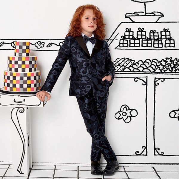 ENDI Boys Black & Blue Monster Jacquard Blazer