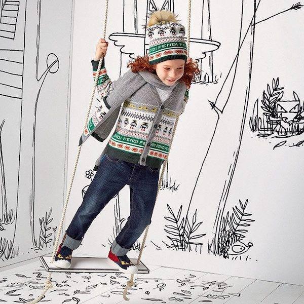 FENDI Boys Grey Wool & Cashmere Monster Logo Cardigan Sweater