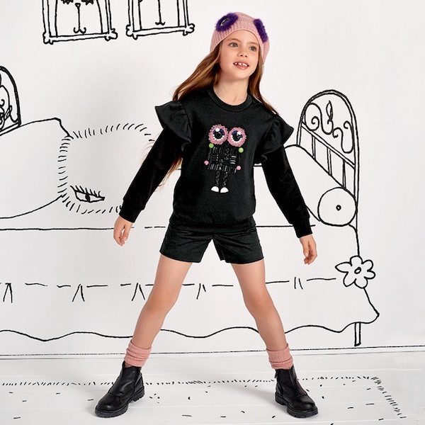 FENDI Girls Black Beaded Robot Monster Sweatshirt