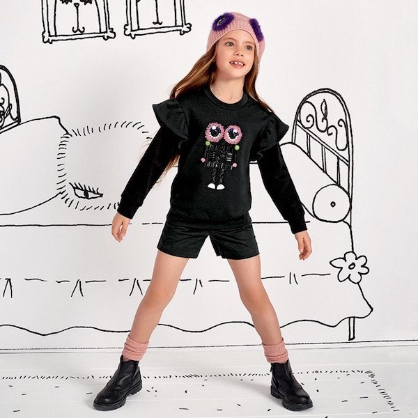 FENDI Girls Black Beaded Robot Monster Sweatshirt