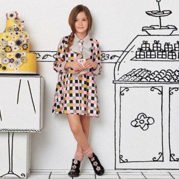 FENDI Girls Check Viscose Dress with Ruffle