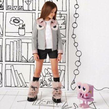 FENDI Girls Grey & Pink Leather Jacket
