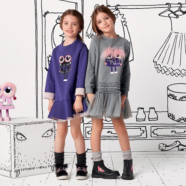 FENDI Girls Purple Neoprene Monster Dress