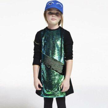 KENZO Girls Black & Green Sequin Asseta Dress