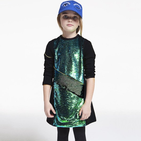 KENZO Girls Black & Green Sequin Asseta Dress