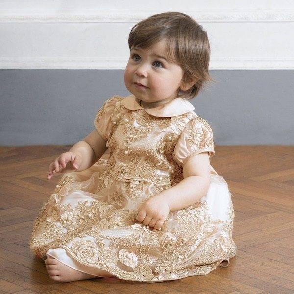 LESY LUXURY Ivory Tulle & Gold Lace Dress