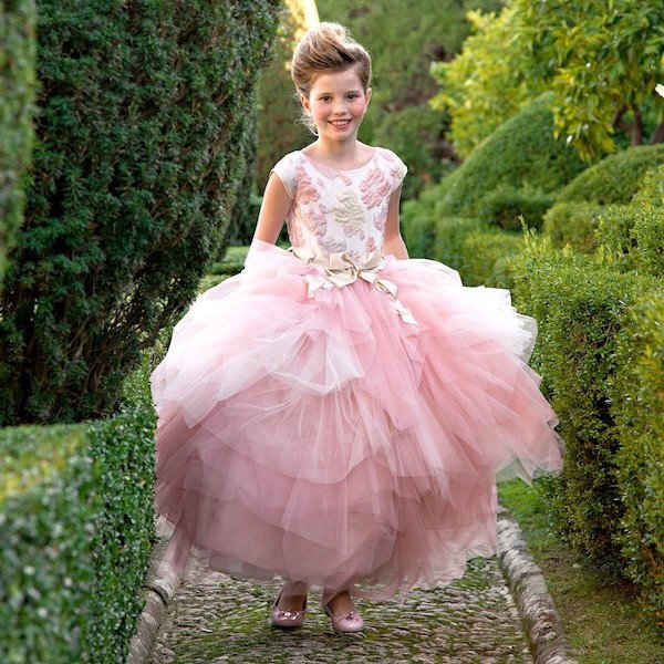 LESY LUXURY FLOWER Girls Pink & Gold Long Jacquard Dress with Tulle