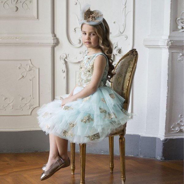 LESY LUXURY Girl Turquoise Blue Tulle & Gold Lace Dress