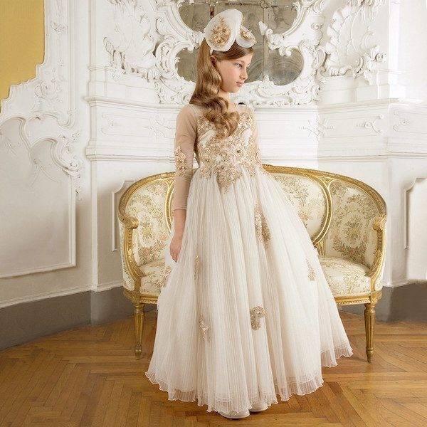 LESY LUXURY Long Ivory & Gold Jeweled Dress