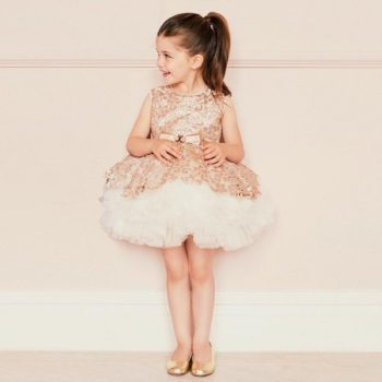 LESY LUXURY Girls Luxury Gold Sequin Lace & Ivory Tulle Dress