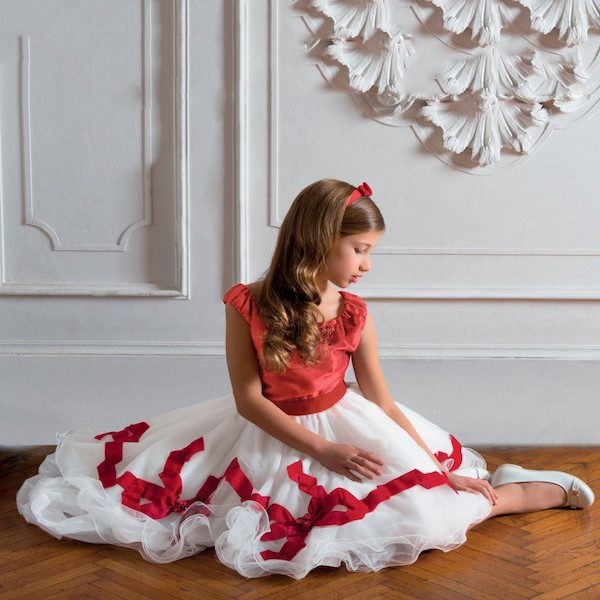 LESY LUXURY Girls Red & White Satin & Tulle Dress with Bows