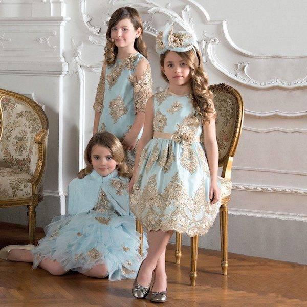 LESY LUXURY Girls Turquoise Blue & Gold Lace Dress