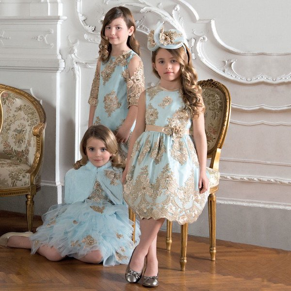 LESY LUXURY Girls Turquoise Blue & Gold Lace Dress
