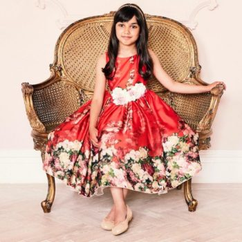 LESY LUXURY Girls Red Dress with Rose Brooch Posy & Belt