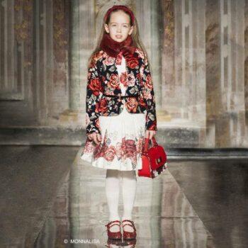MONNALISA CHIC Girls Navy Blue & Red Neoprene Floral Jacket & Skirt