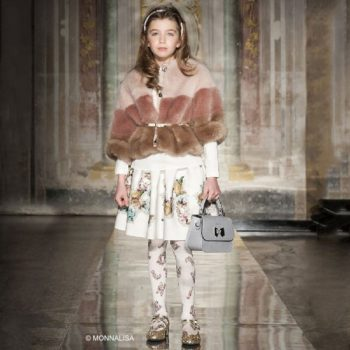 MONNALISA CHIC Ivory & Floral Neoprene Skirt & Fur Cape
