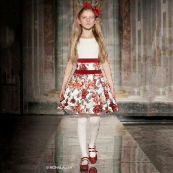 MONNALISA CHIC Ivory & Red Floral Neoprene Dress