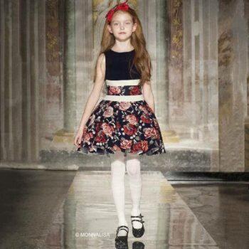 MONNALISA CHIC Navy Blue & Red Floral Neoprene Dress