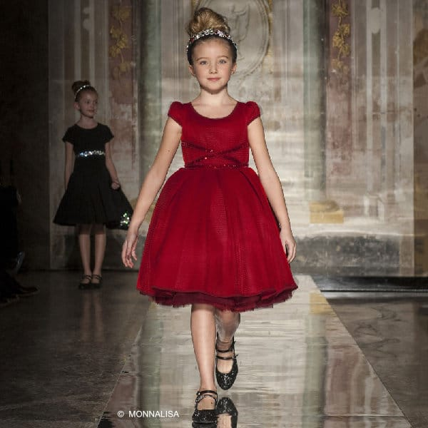 MONNALISA COUTURE Girls Red Neoprene & Tulle Dress