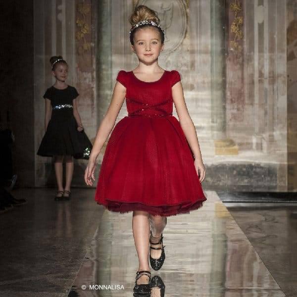 MONNALISA COUTURE GIRLS RED NEOPRENE & TULLE DRESS