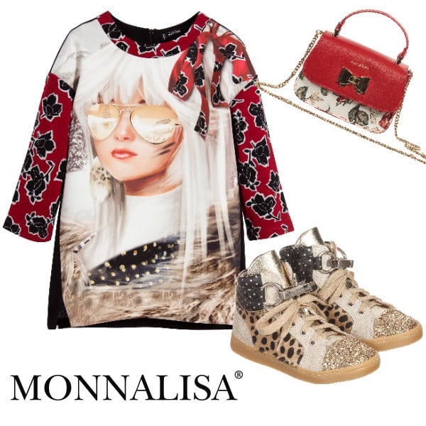MONNALISA JAKIOO Girls in Sunglasses on Snow Mountain Dress