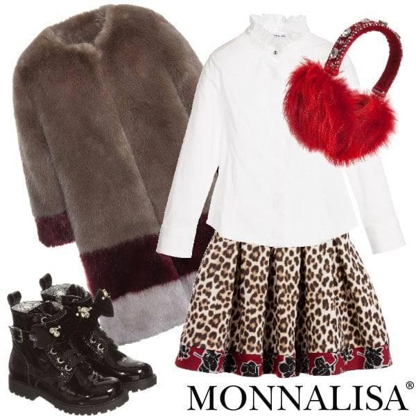 MONNALISA JAKIOO Leopard Print & Rose Neoprene Skirt Fur Coat
