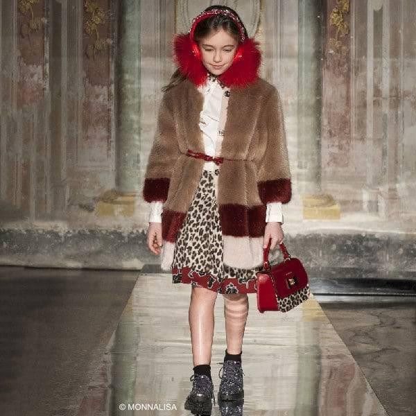 MONNALISA JAKIOO Leopard Print & Rose Neoprene Skirt & Fur Coat