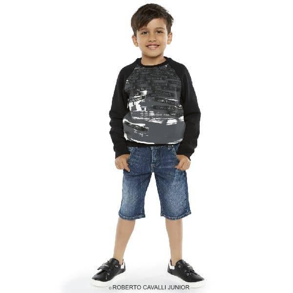 ROBERTO CAVALLI Boys Black & Grey Logo Print Sweatshirt