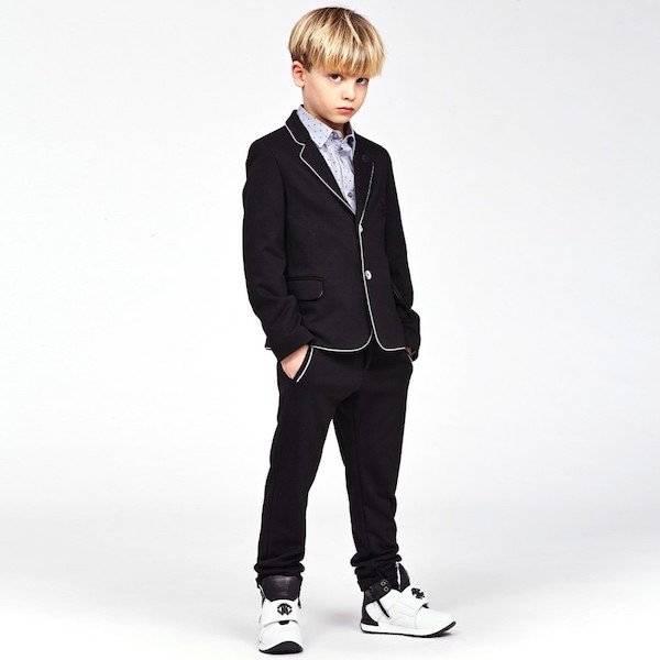 ROBERTO CAVALLI Boys Black Viscose Jersey Suit