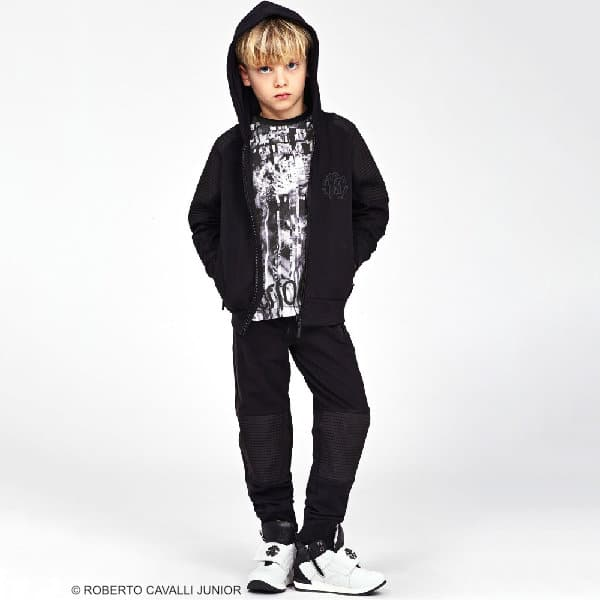 ROBERTO CAVALLI Boys Black Wild Cat Print T-Shirt & Tiger Jeans