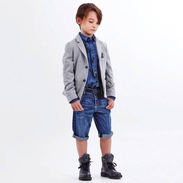 ROBERTO CAVALLI Boys Grey & Navy Blue Cotton Jersey Blazer