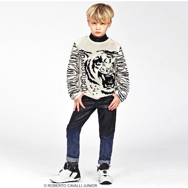 ROBERTO CAVALLI Boys Ivory & Black Tiger Cashmere Sweater & Jeans