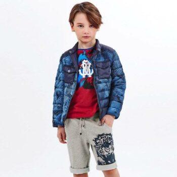 ROBERTO CAVALLI Boys Red Cotton Logo T-Shirt & Grey Tiger Shorts