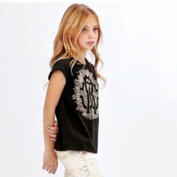ROBERTO CAVALLI Girls Black T-Shirt with Gold Sequin Logo