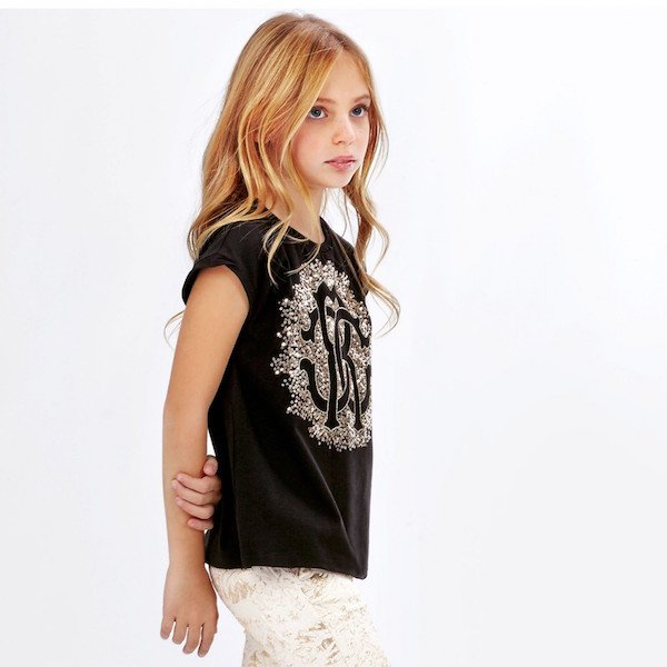 ROBERTO CAVALLI Girls Black T-Shirt with Gold Sequin Logo