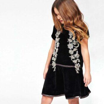 ROBERTO CAVALLI Girls Black Velvet Dress with Beading