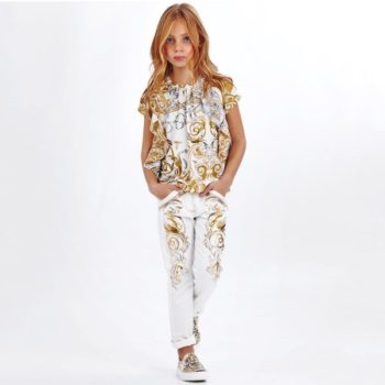 ROBERTO CAVALLI Girls Girls Gold & Ivory Baroque Top and White Gold Baroque Swan Print Pants