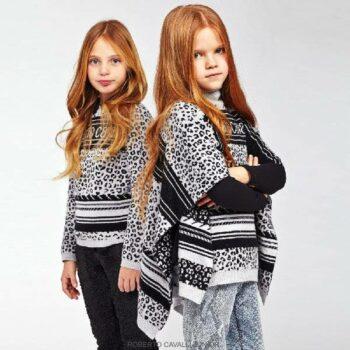 ROBERTO CAVALLI Girls Grey & Black Jaguar Print Wool & Cashmere Poncho