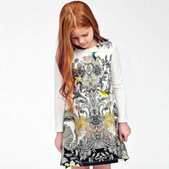 ROBERTO CAVALLI Girls Ivory Dress with Baroque Floral & Bird Print