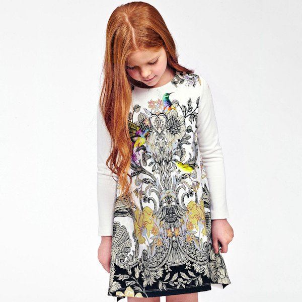 ROBERTO CAVALLI Girls Ivory Dress with Baroque Floral & Bird Print