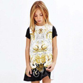 ROBERTO CAVALLI Girls Ivory, Gold & Black Baroque Silk Swan Dress