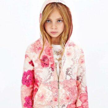 ROBERTO CAVALLI Girls Pink 'Kyoto' Cotton Jersey Tracksuit
