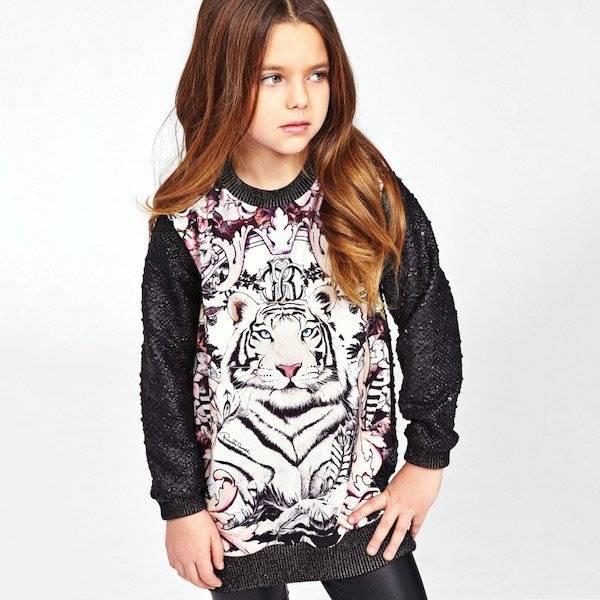ROBERTO CAVALLI Girls Black Maxi Sweater with Tiger Print