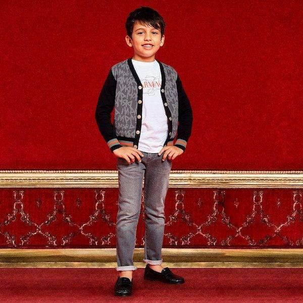 ARMANI JUNIOR Boys Black & Grey Logo Cardigan & Boys Grey Denim Jeans