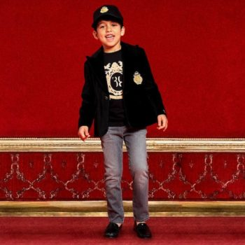 BILLIONAIRE Boys Black Velvet Blazer & Wolf Crest Top