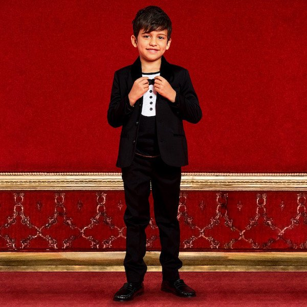BILLYBANDIT Boys Black Velvet Trim Suit & Tuxedo Print T-Shirt