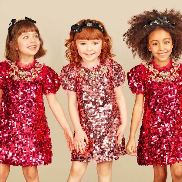 DOLCE & GABBANA Girls Mini Me Bright Pink Sequinned & Jewelled Dress